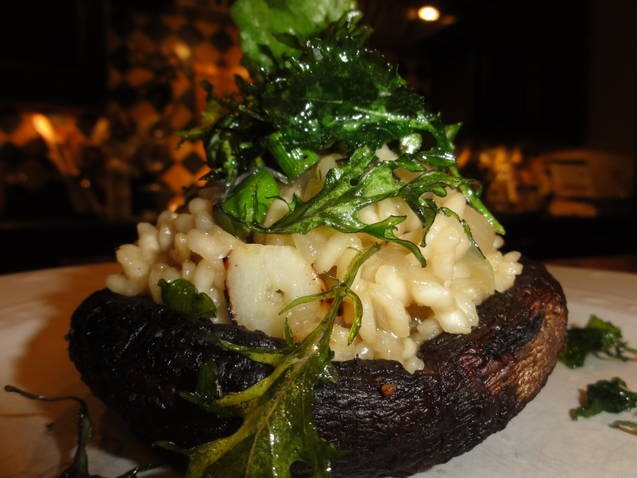 Risotto Stuffed Portobellos With Fried Kale