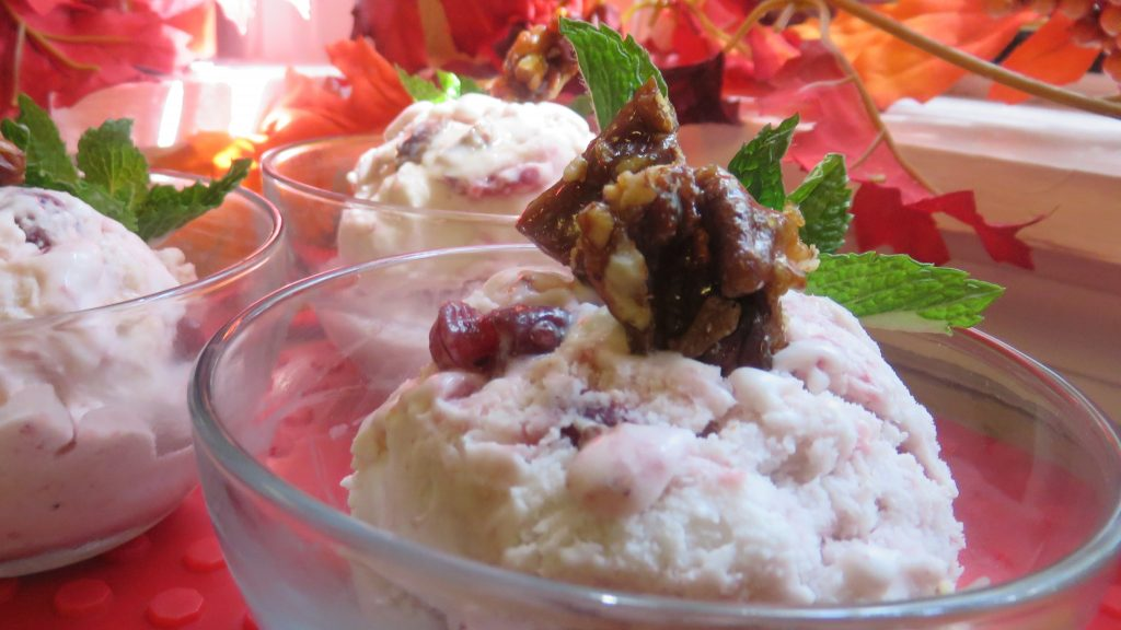 Cranberry - Coconut Ice Cream With Cinnamon-Scented Candied Pecans