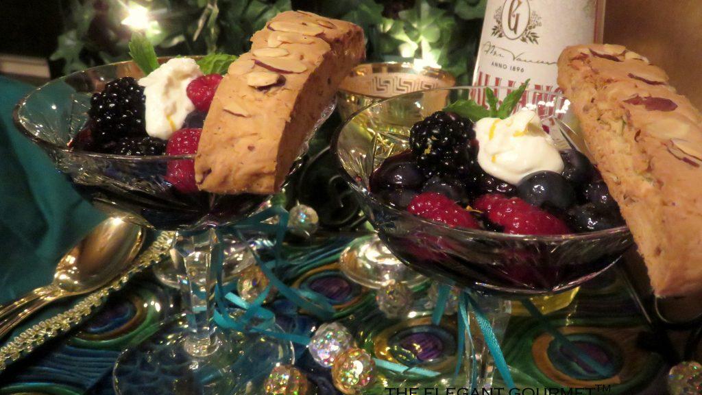 Berries In Zin With Galliano Cream & Almond, Pink Peppercorn & Rosemary Biscotti