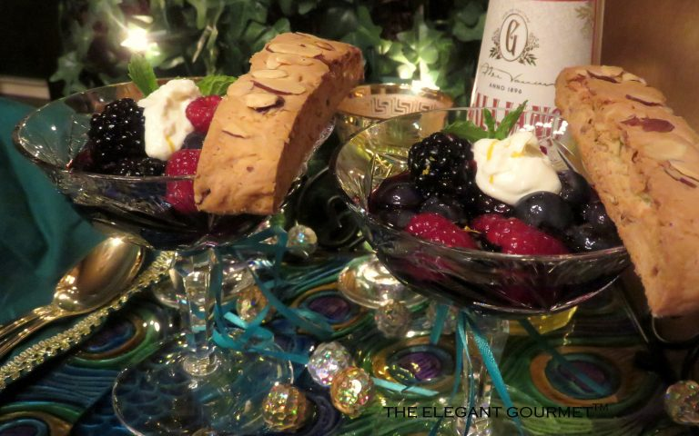 berries in zin with galliano cream almond pink peppercorn rosemary biscotti
