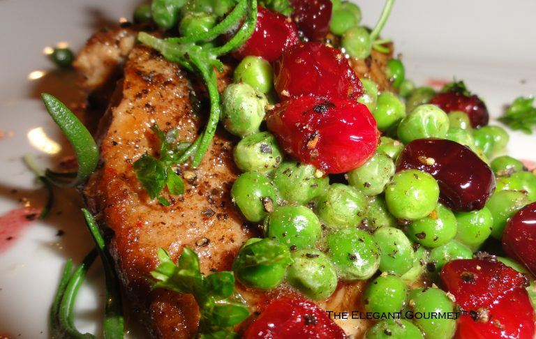 pan basted salmon with peas cranberries rosemary tips