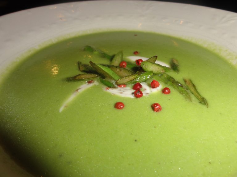 asparagus soup with french peppercorn-lemon cream