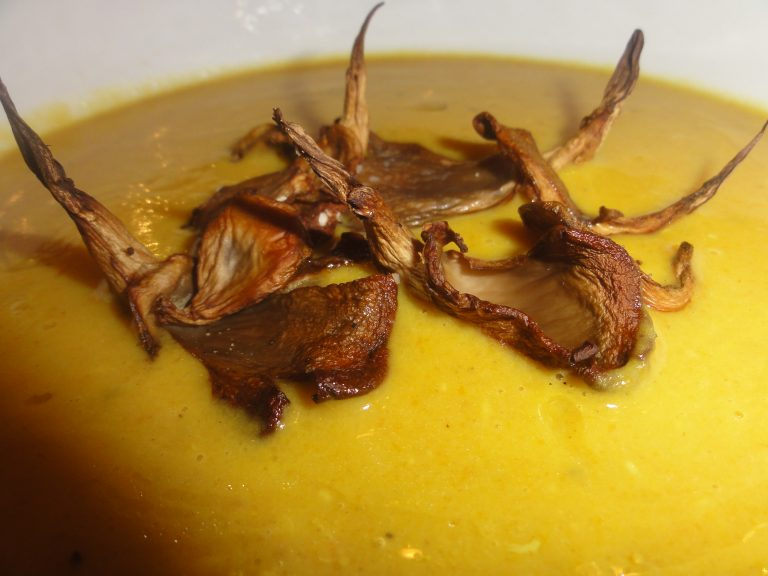 cape malay spiced red lentil carrot coconut soup with roasted oyster mushrooms