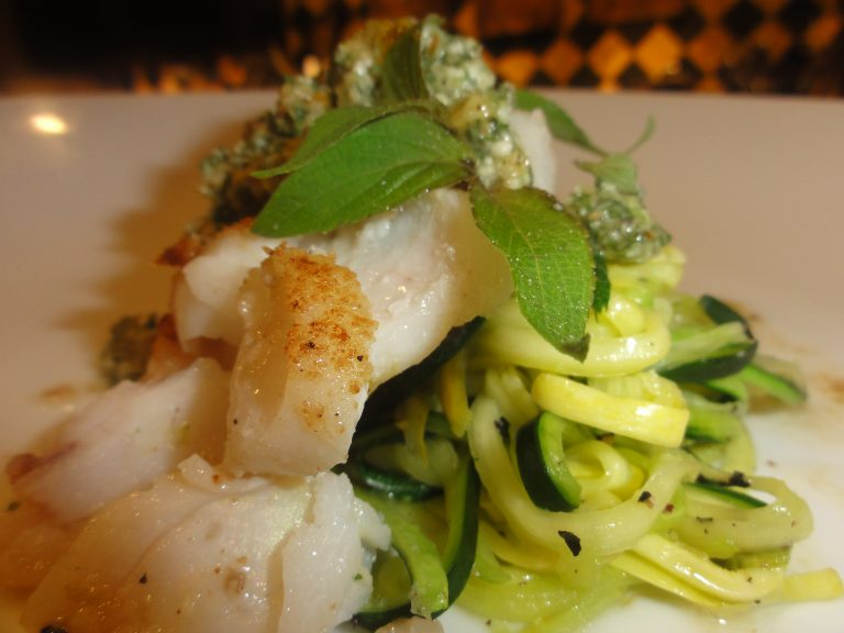 pan seared cod with pineapple sage pesto