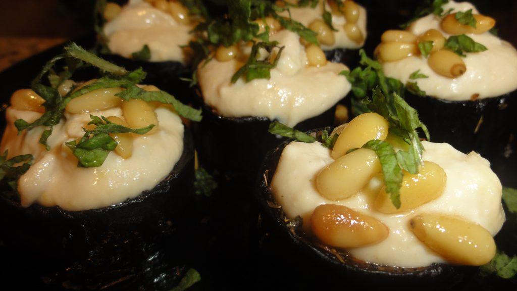 Roasted Eggplant Bites With Yogurt, Feta & Tahini Sauce